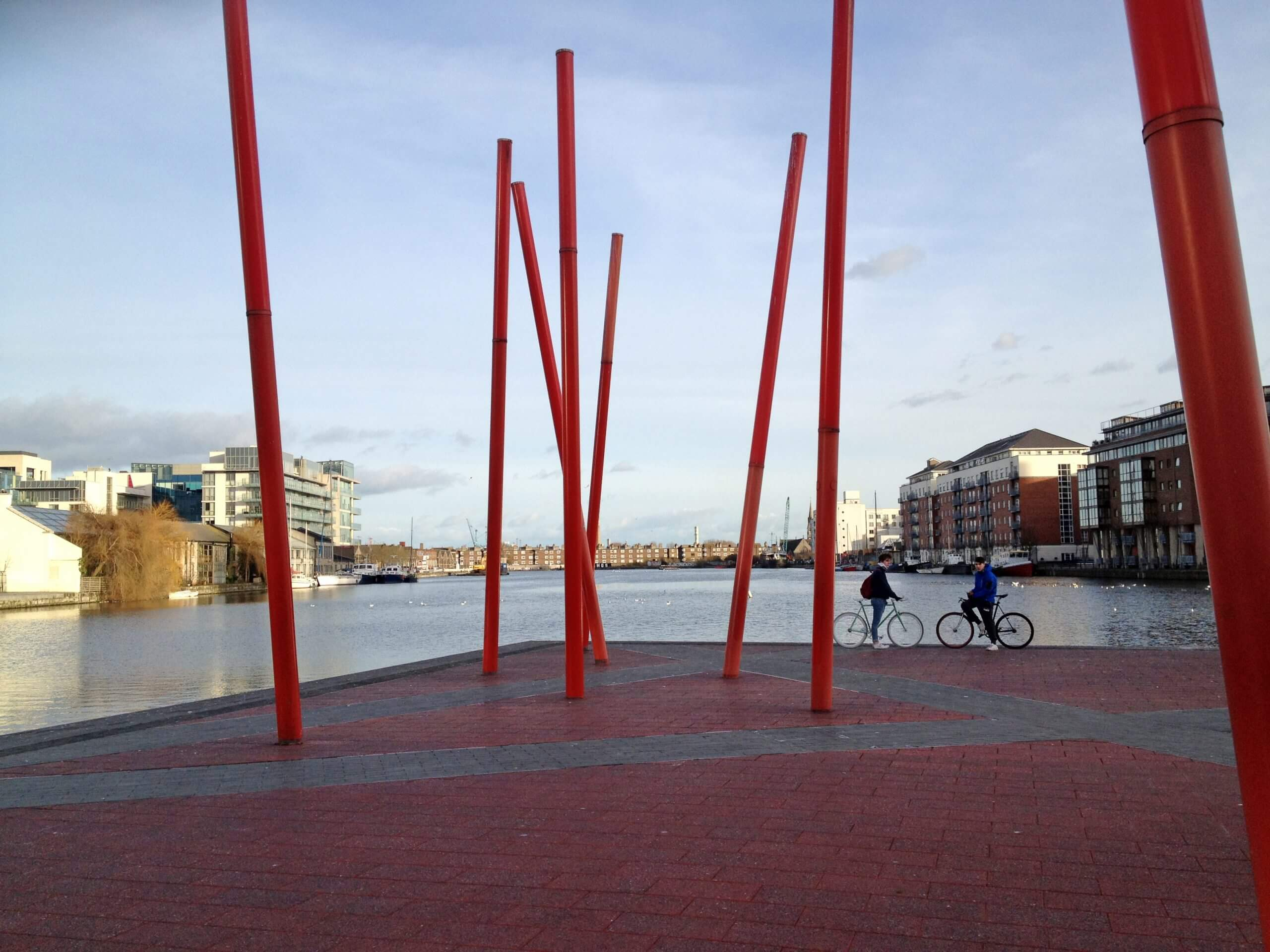 Cyclists at Grand Canal Dock, Dublin